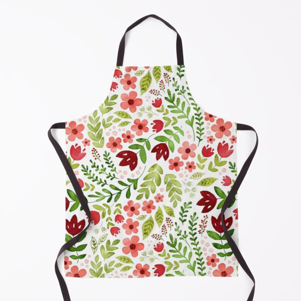 Red and peach watercolour floral Apron