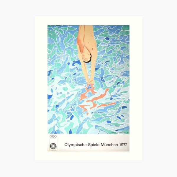 Affiche du plongeur olympique de Munich par David Hockney - 1972 Impression artistique
