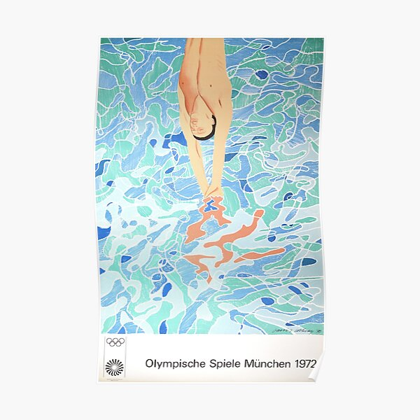 Munich Olympic Diver Poster by David Hockney - 1972 Poster