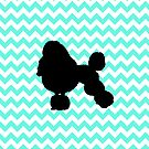 Poodle With Light Blue Chevron by pjwuebker