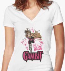 Gambit Superheroes T-Shirt Women's Fitted V-Neck T-Shirt