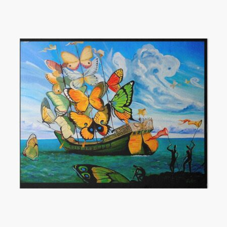 BUTTERFLY SHIP : Vintage Dali Abstract Painting Print Art Board Print