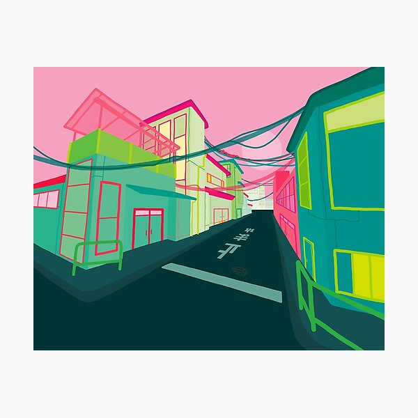 a residential street in Osaka. Photographic Print