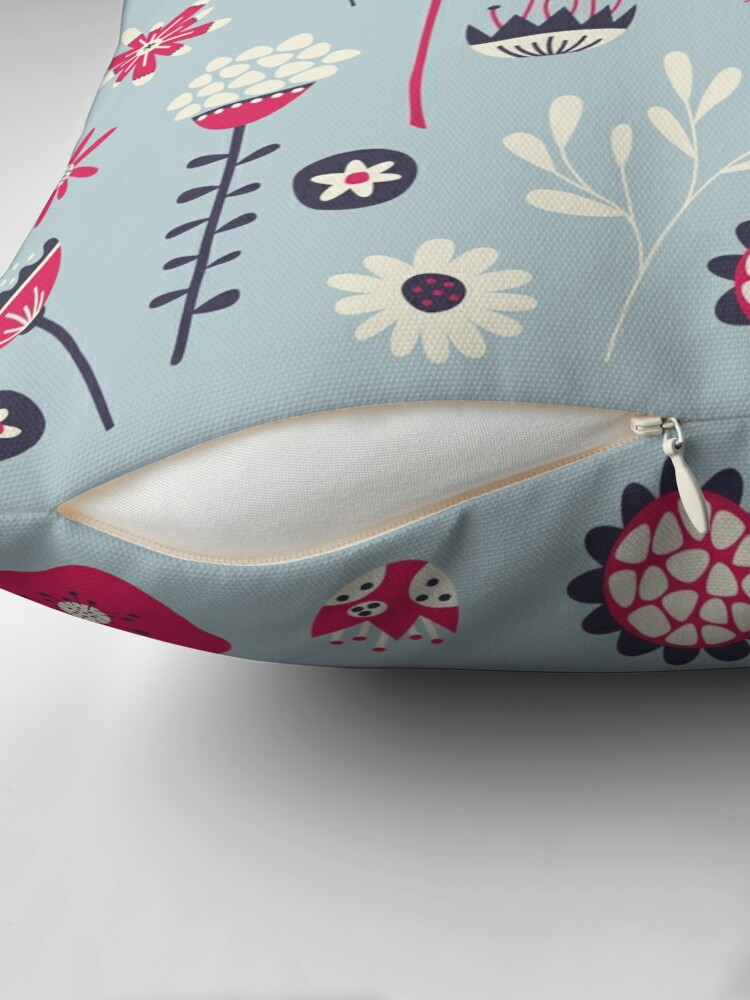 Alternate view of Scandi Birds and Flowers Blue Throw Pillow