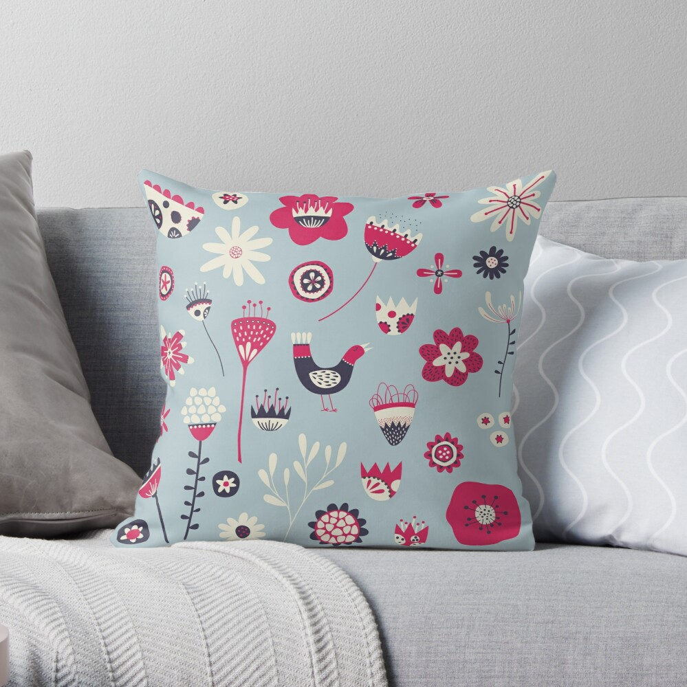 Scandi Birds and Flowers Blue Throw Pillow