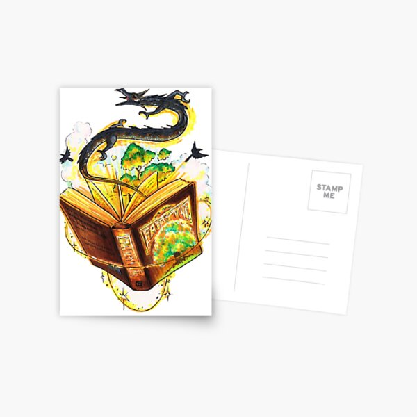 Magical Fantasy Book Postcard