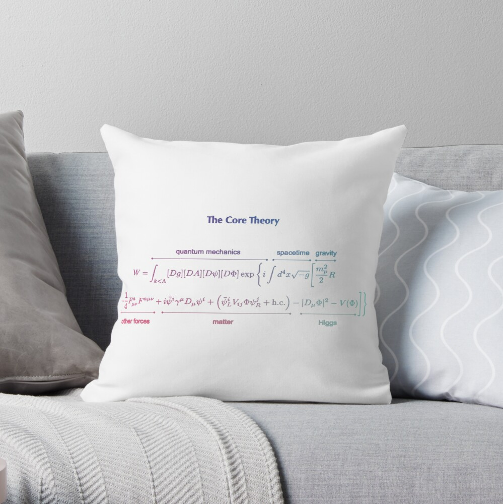The Core Theory: Quantum Mechanics, Spacetime, Gravity, Other Forces, Matter, Higgs Throw Pillow