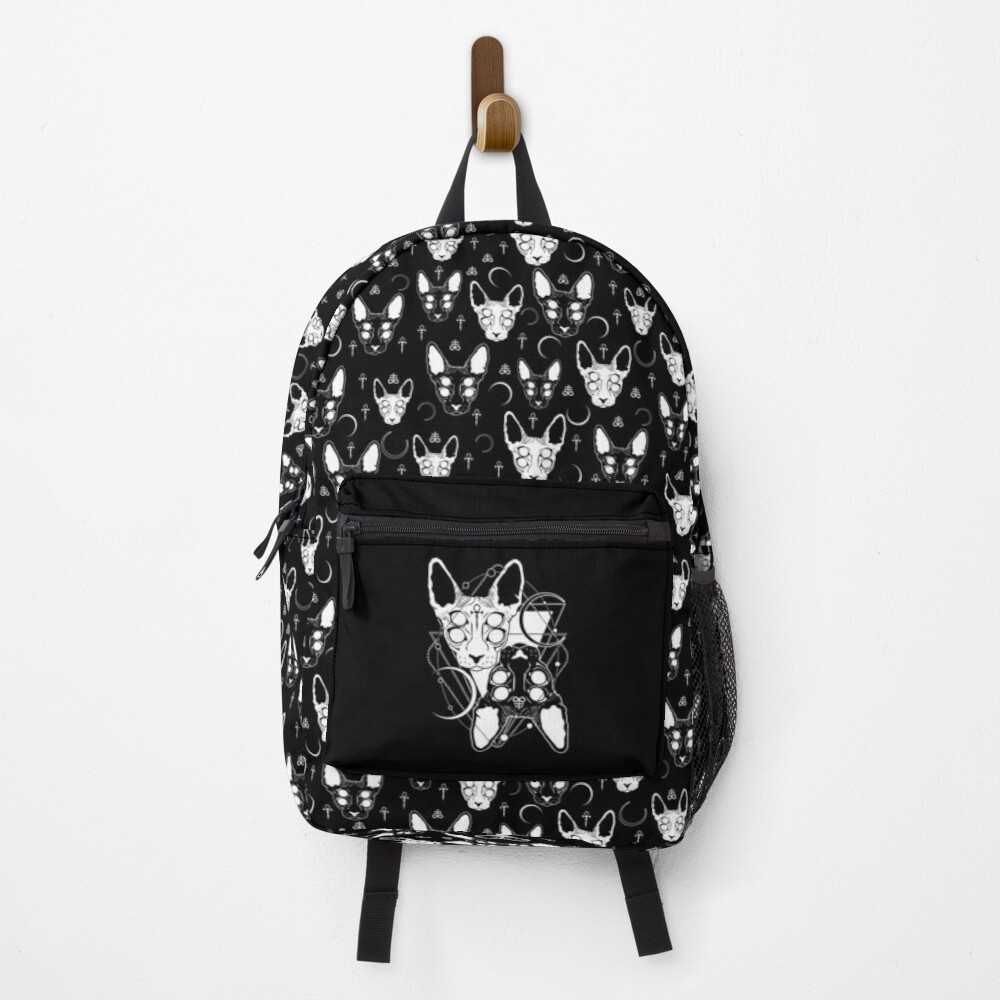 Sphynx cats with ankh and Leviathan cross symbols Backpack