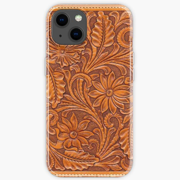 Tooled Brown Leather  iPhone Soft Case