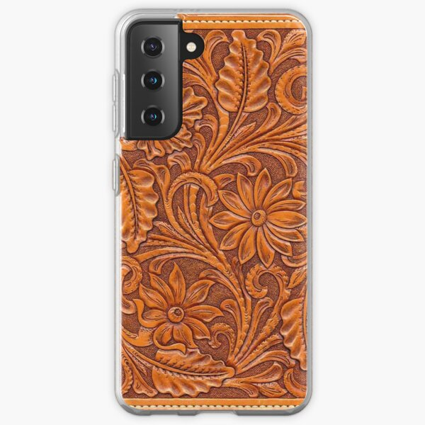 Tooled Brown Leather  Samsung Galaxy Soft Case