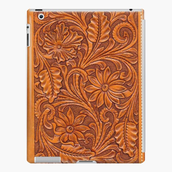 Tooled Brown Leather  iPad Snap Case