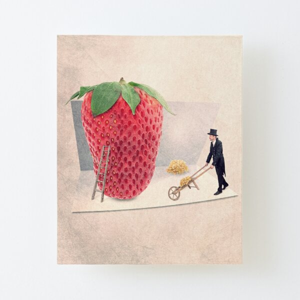 giant strawberry print Canvas Mounted Print