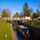 Narrowboat in Kintbury Lock by mlphoto