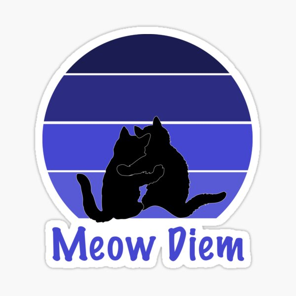 Cats Meow Diem Retro Sunset Design Sticker