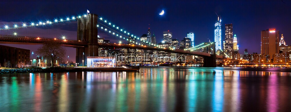 new york city skyline and brooklyn bridge by mitchell grosky redbubble. Black Bedroom Furniture Sets. Home Design Ideas