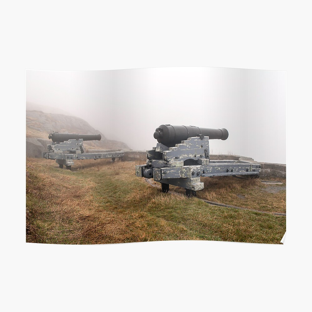 Cannons in the fog. Poster