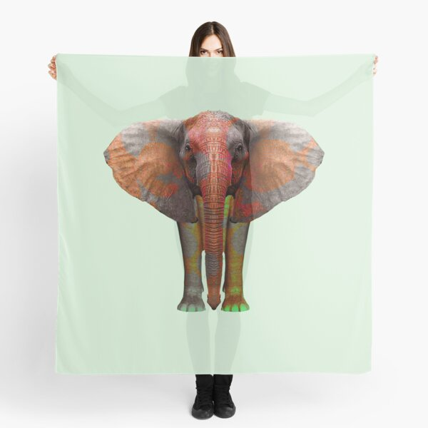 Huge African grey elephant and elephant family Scarf