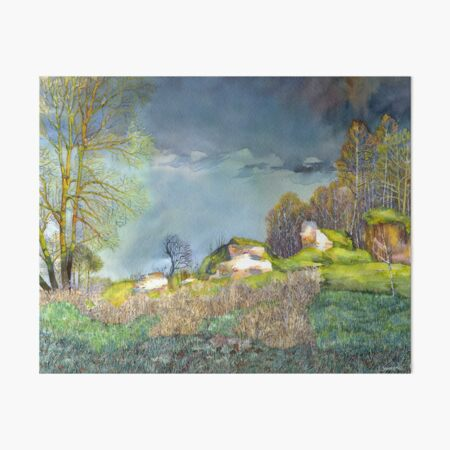 Spring thunderstorm painting  watercolor Art Board Print