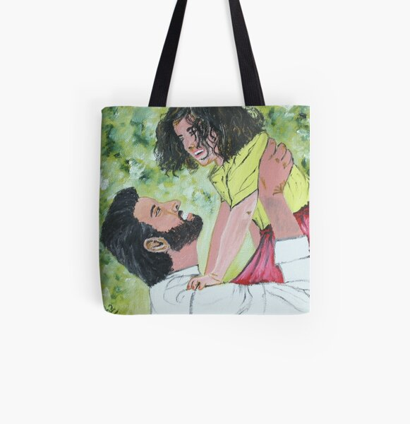 A play time between father and  daughter.  All Over Print Tote Bag