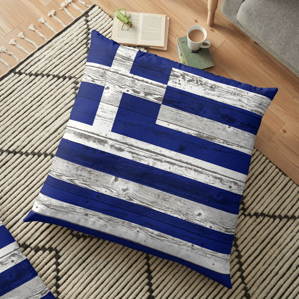 Greece flag Floor Pillow