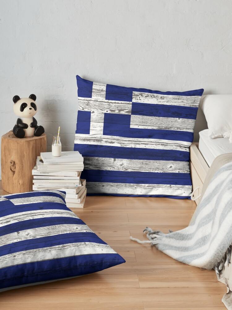Alternate view of Greece flag Floor Pillow