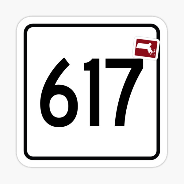 Massachusetts State Route 617 (Area Code 617) Sticker