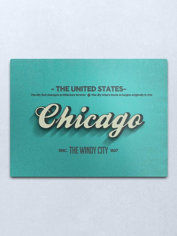 Alternate view of Vintage Chicago Metal Print