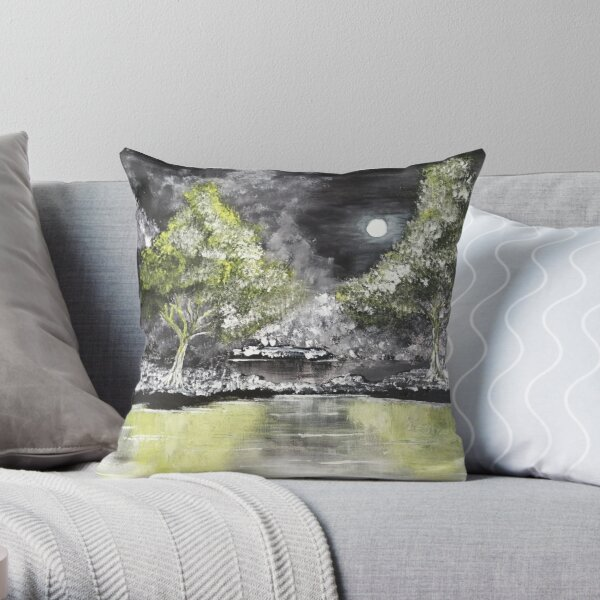 Grayscale landscape...a black and white landscape with a yellow monlight and water reflection. Throw Pillow