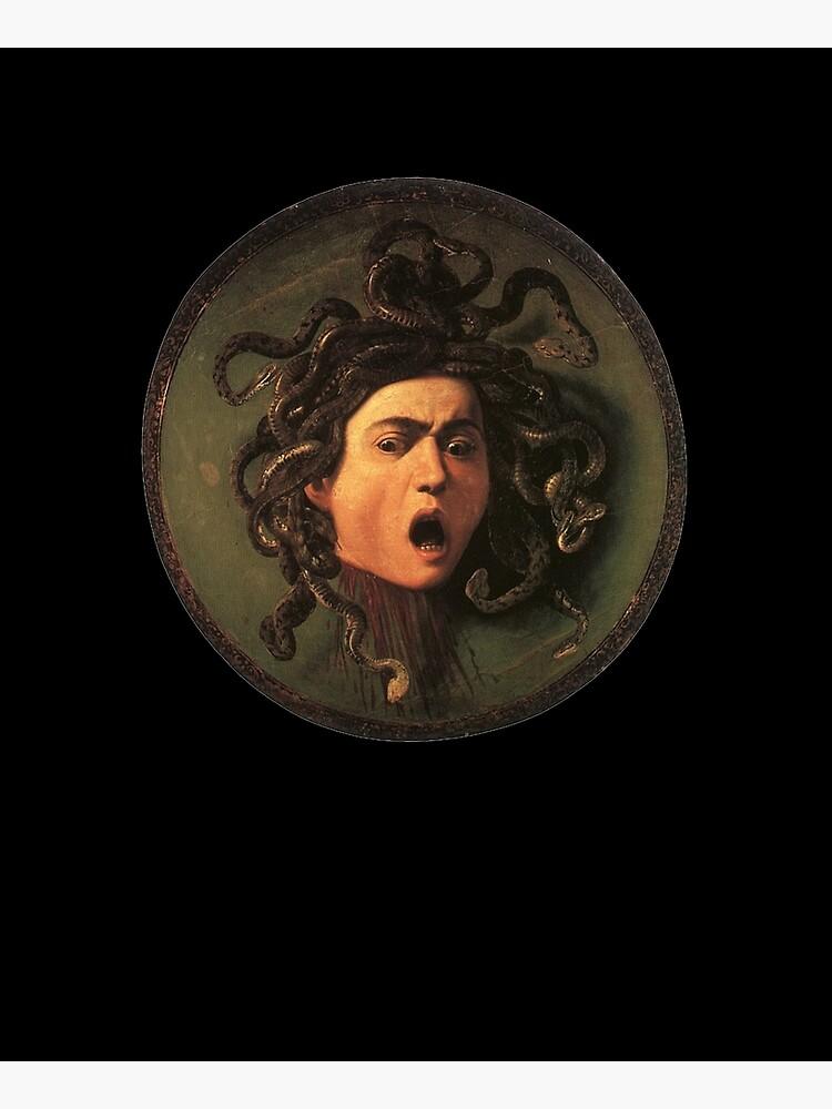 Medusa. Gorgon. Venomous snakes in place of hair. Monster. Greek Mythology. Michelangelo, Caravaggio. on BLACK. by TOMSREDBUBBLE