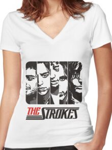 The Strokes Band Music T-Shirt Women's Fitted V-Neck T-Shirt