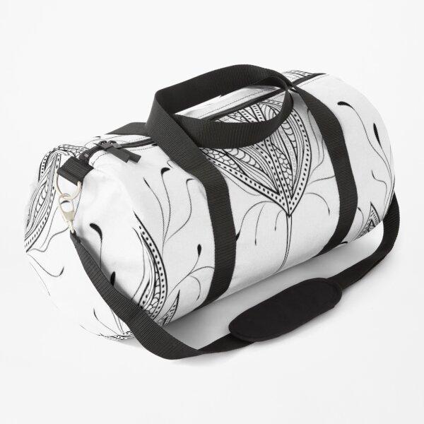 blackwhite flowers Duffle Bag