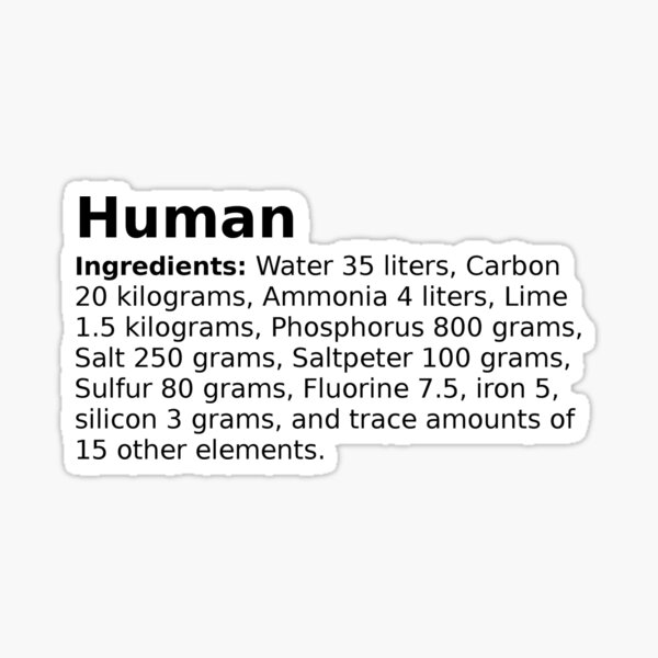 The average ingredients of an adult human body Sticker