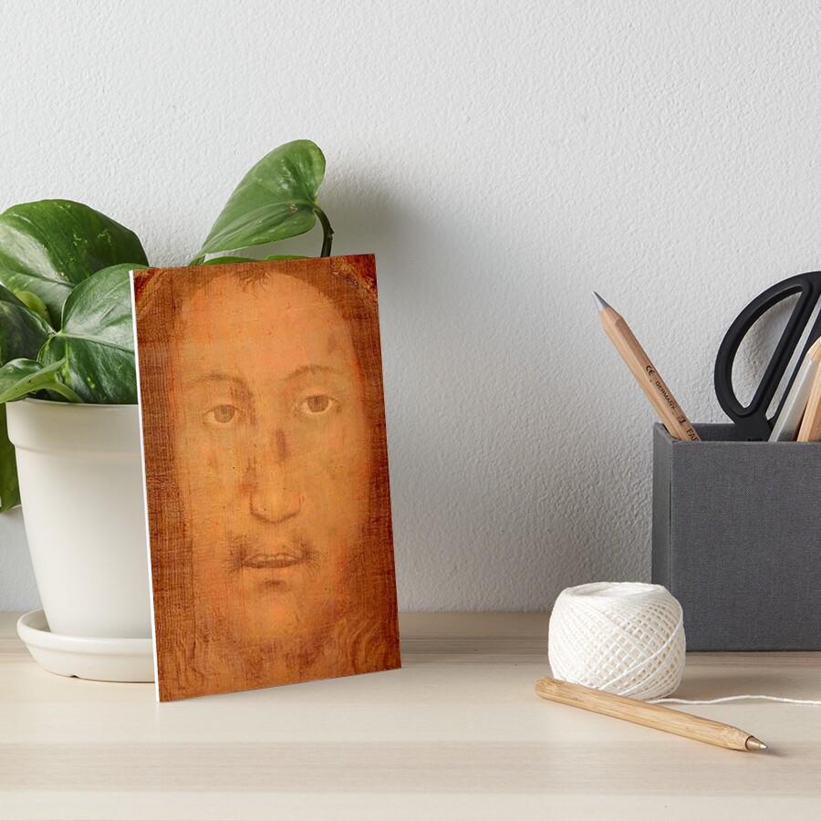 CHRIST. JESUS. CHRISTIANITY. Veil of Veronica, Sudarium, Manoppello Image. Art Board Print