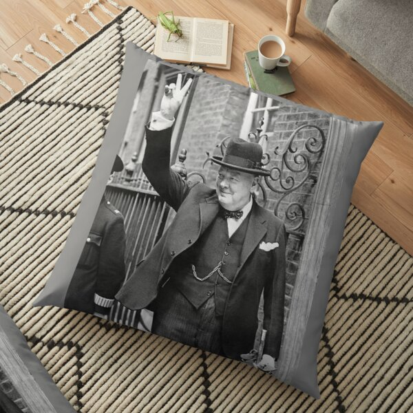 CHURCHILL. British prime minister, V sign, Victory, 1943, WWII. Floor Pillow