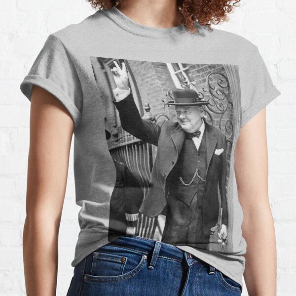 CHURCHILL. British prime minister, V sign, Victory, 1943, WWII. Classic T-Shirt
