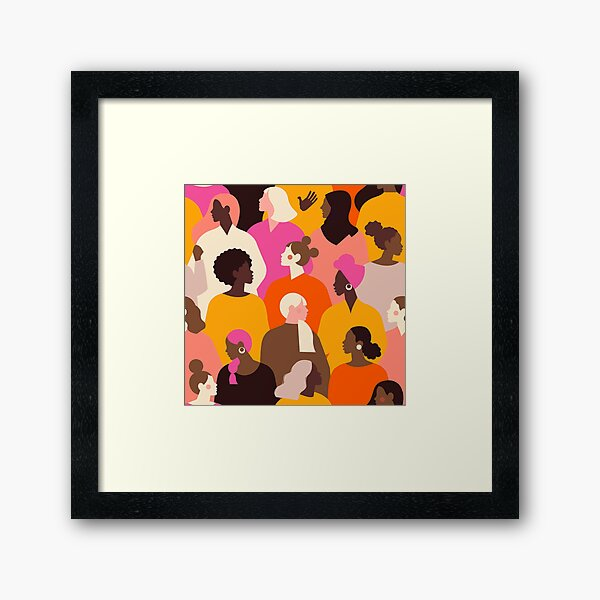 Female diverse faces Framed Art Print
