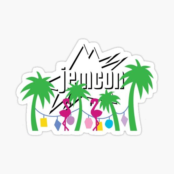JemCon Palms and Flamingos Sticker
