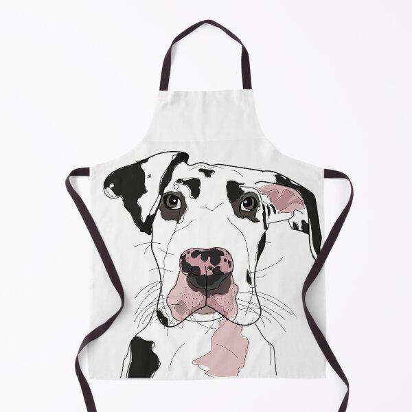 Great Dane b/w/pink dog Apron