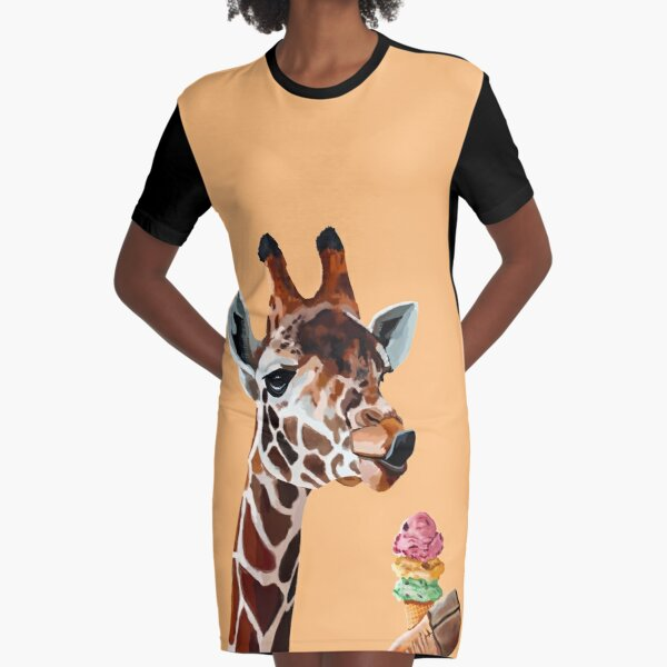 Giraffe with a cute tong and ice cream Graphic T-Shirt Dress