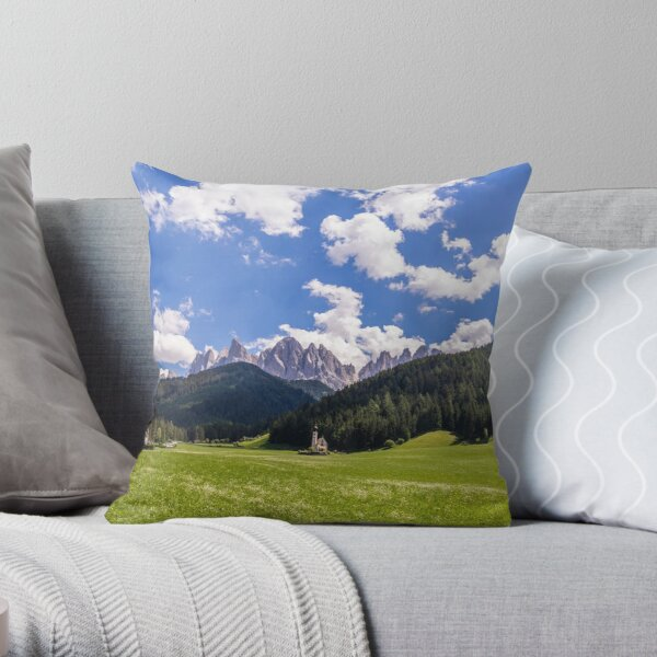 Summer landscape of Val Funes Throw Pillow