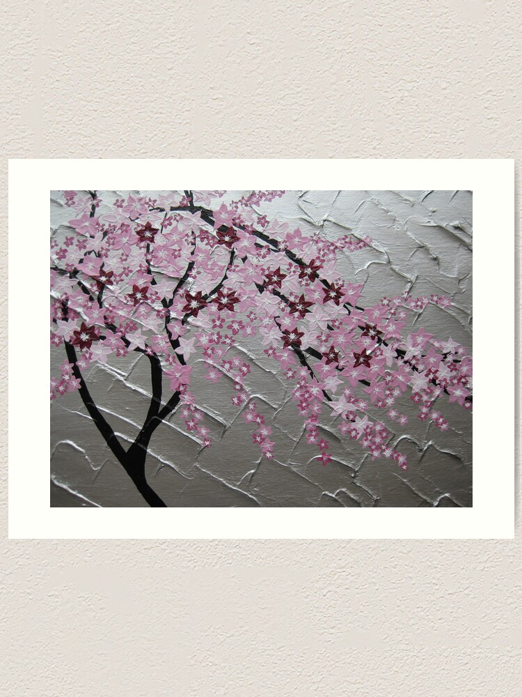 Cherry Blossom Tree Art With White And Pink Japanese Painting
