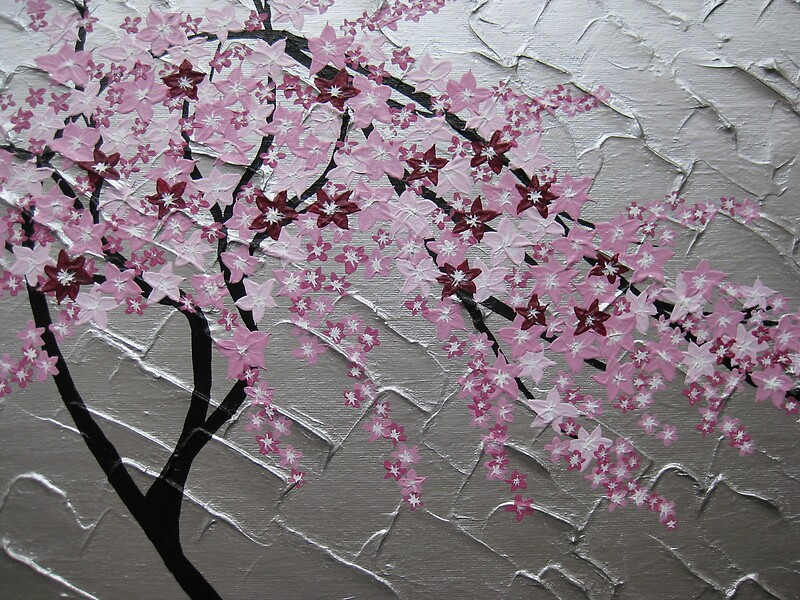 """Blossom Tree Extra Large Wall Decal Japanese Cherry Blossom: """"cherry Blossom Tree Art With White And Pink- Japanese"""