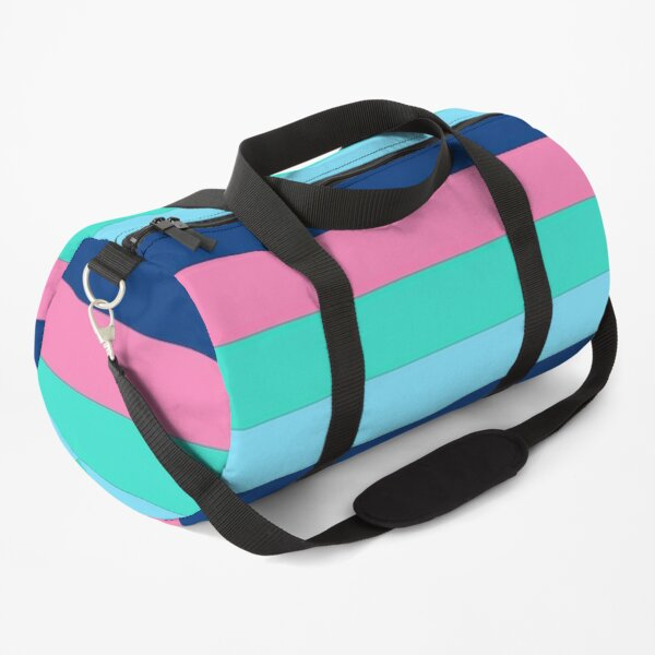 Stripes in dark blue,pink,blue,and turquoise Duffle Bag