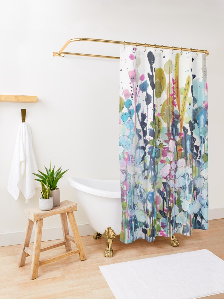 Alternate view of colorful side road Shower Curtain