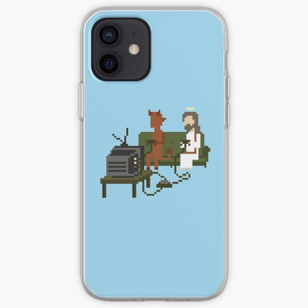 Jesus And Devil Playing Video Games Pixel Art Funda blanda para iPhone
