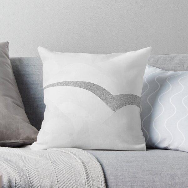 Silver Streak White Throw Pillow
