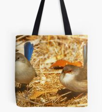 Male and Female Blue Wrens Dance with me Tote Bag