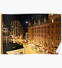Empress Hotel at NIght - Side View Poster