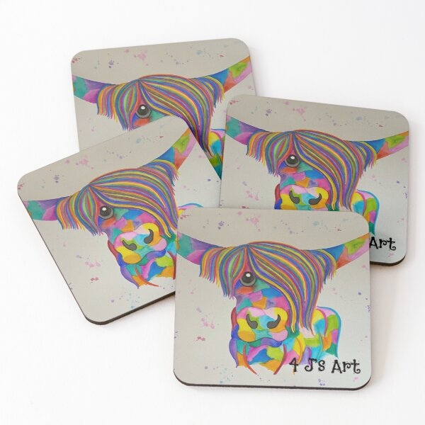 Colourful Highland Cow with rainbow colours painted with watercolours by 4 J's Art Coasters (Set of 4)