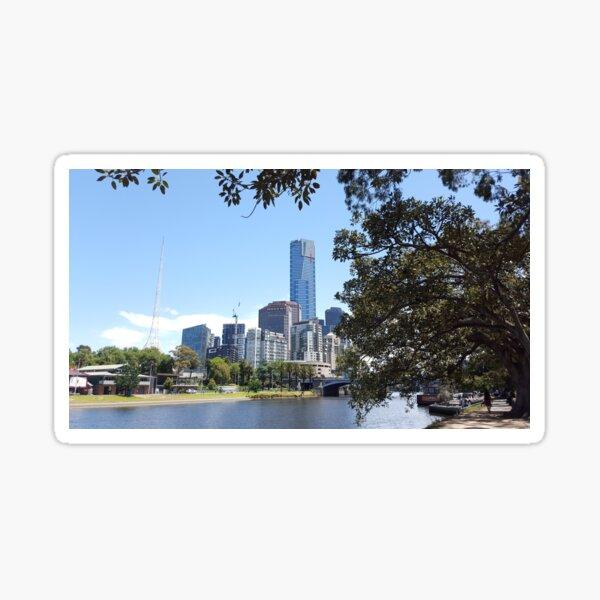 View across Yarra River Sticker